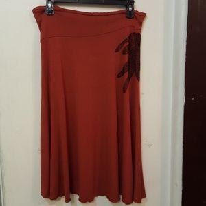 Joie brick orange red flare skirt